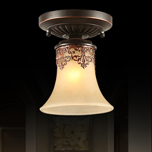 European Retro Hanging Lamp Glass Shade Ceiling Light E27 Vintage Balcony Hallway Bedroom Living Room Fixture Lighting CL202(China)
