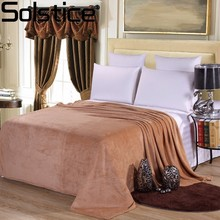 Solstice Textile Rectangle Light Brown Solid Color Flannel Coral Bed Sheet Blanket Sofa/TV/Bed/Car Portable Blanket 200X230cm