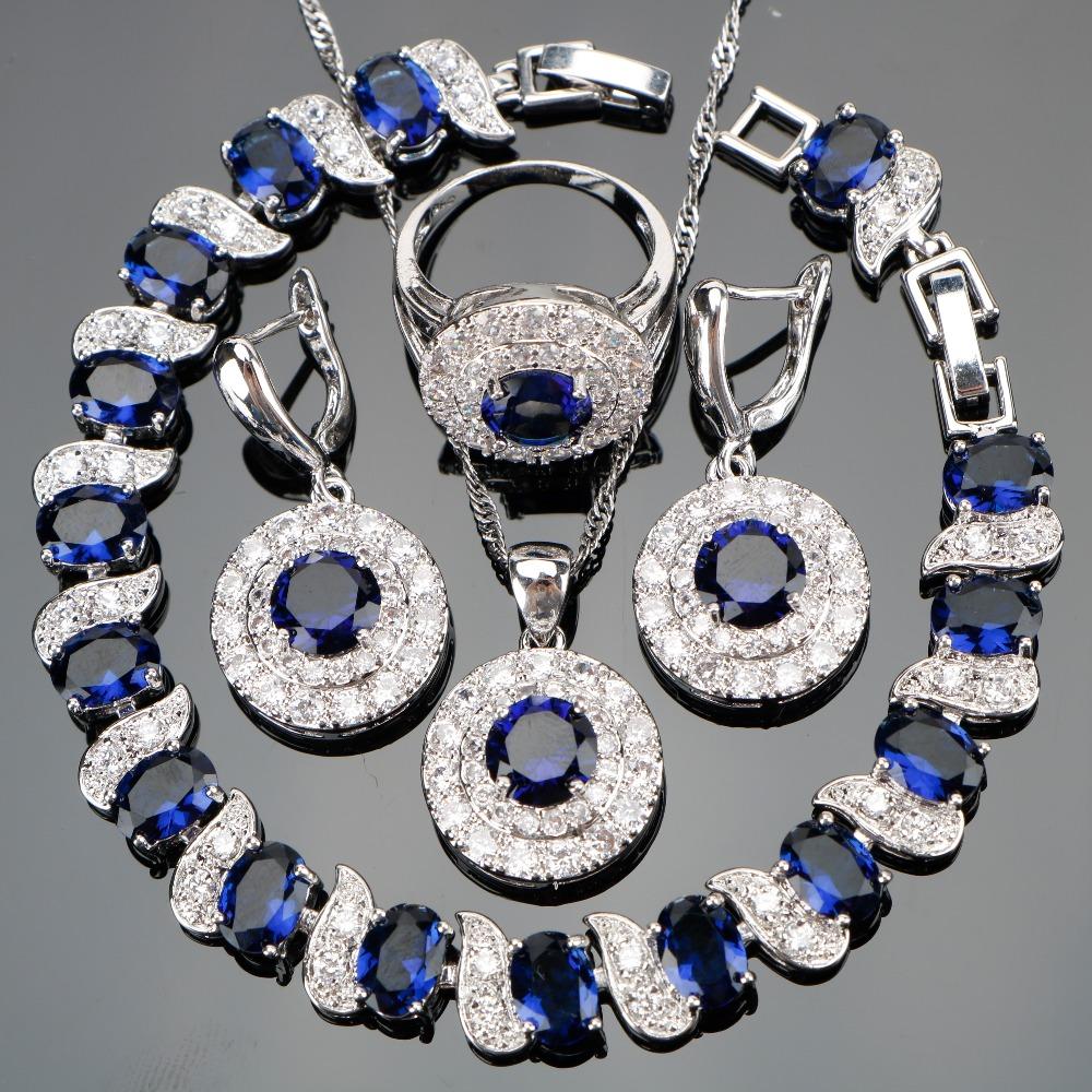 طقم مجوهرات  الأزرق الزركون فضية 925 1