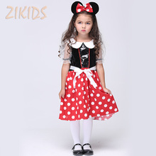 Christmas Minnie Mouse Role-play Costume For Girls Masquerade Dresses Kids Carnival Party Polka Dot Clothes (Dress+Headwear)
