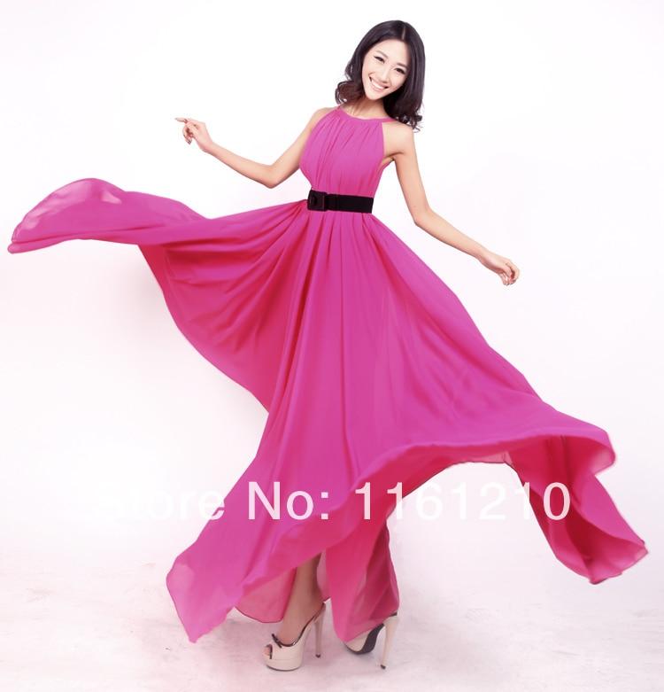 Rose Pink Chiffon Dress Summer Bridesmaid Sundress Holiday Beach