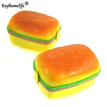 Keythemelife Lunch boxs tableware dinnerware food container bento 1 piece Square Hamburger Shape PP Plastic children friend DA