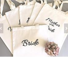 set of 6 Thank you bridesmaid tote bags Personalized text Champagne Party wedding gift Bags Bachelorette bridal shower favors