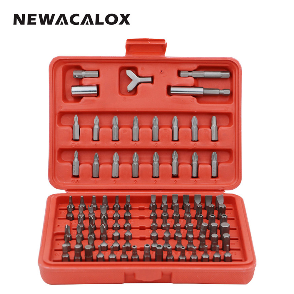 NEWACALOX Screwdriver for Phone Watch Laptops Tamper Proof Hex Phillips Slotted Tri Wing Star Screw Driver Bit 100pcs/set<br>