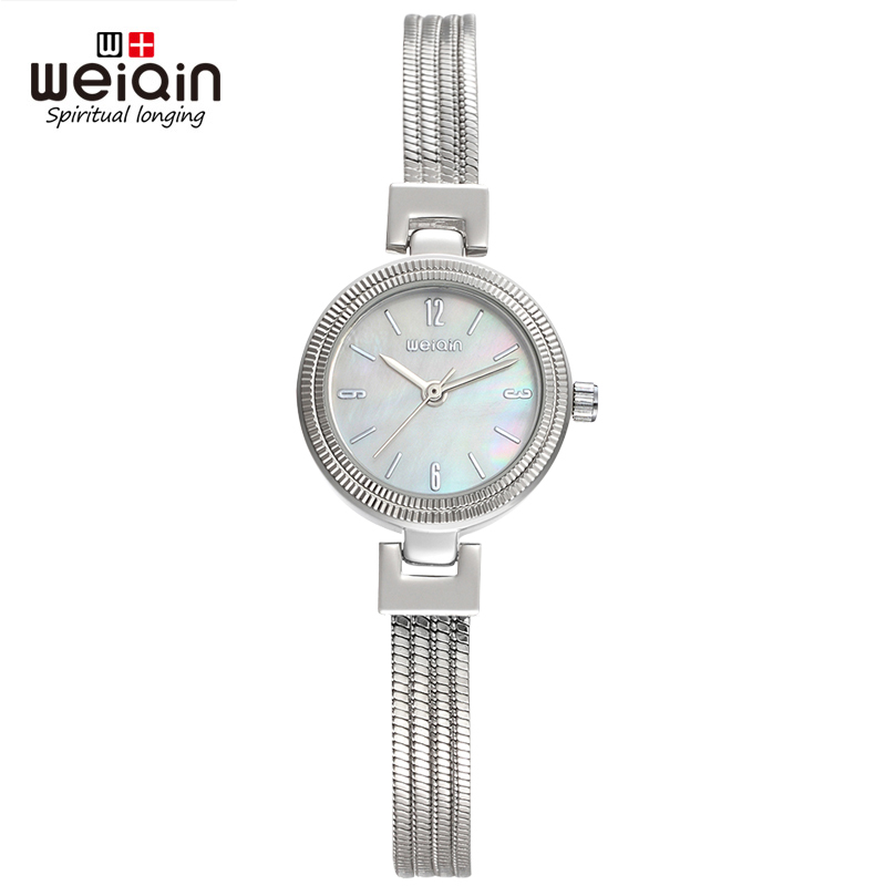 WEIQIN Numbers NailScale Quartz Movement Hardlex Bracelet Clasp Stainless Steel Fashion Ladies Watch Women Wristwatches<br>