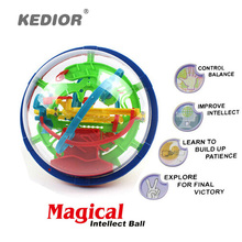 100 Steps 3D Magic Intellect Maze Ball For Children Balance Logic Ability Puzzle Game Toys Educational Training Tools(China)