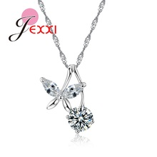 JEXXI Fashion Sweater Pendant Round Crystal Silver Long Chain Necklace Beautiful Butterfly Fairy Jewelry For Elegant Women(China)