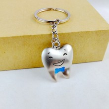 2017 new cute kawaii tooth shape key chain ring anime keychain novelty items creative trinket charm gift  women men  kids BLUE