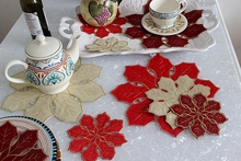 Handmade embroidery Octagonal Placemats / beautiful coffee coasters flower leaf / European pastoral Style / Wholesale