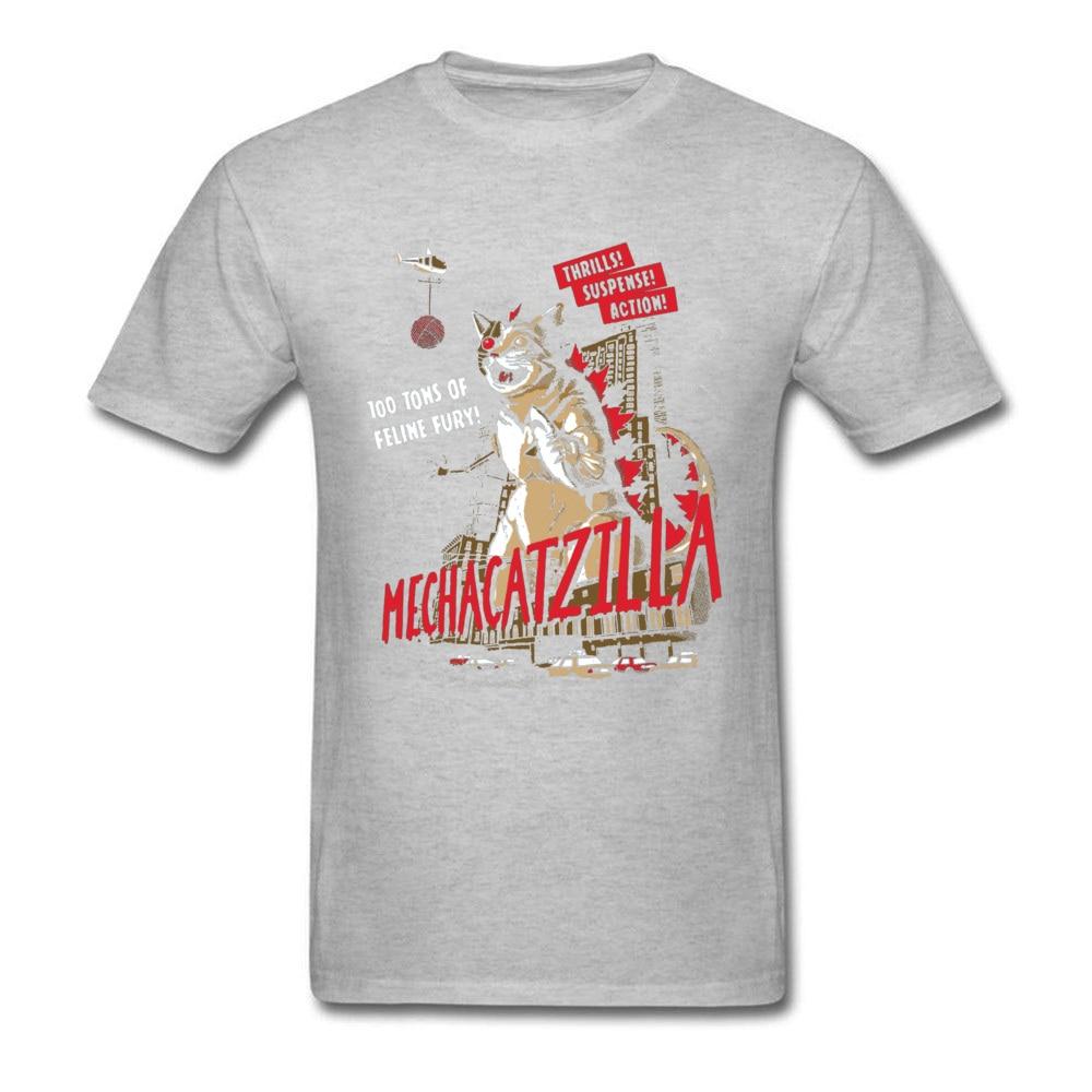 Normal Mecha Catzilla V2 23216 Short Sleeve Lovers Day Tops & Tees Newest Crewneck Cotton Fabric Tops Shirt Men Tshirts Mecha Catzilla V2 23216 grey