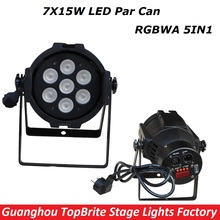1XLot New Led Par Light 7X15W RGBWA 5IN1 110W DJ Disco DMX Stage Lights Led Par Can Effects Club Party Wedding Events Lighting