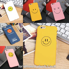 lovely Cute cartoon face smile skin for iphone 6 plus 6s plus 5.5 inch Scrub Plastic Hard Back Case Cover Cell Phone Case Funda