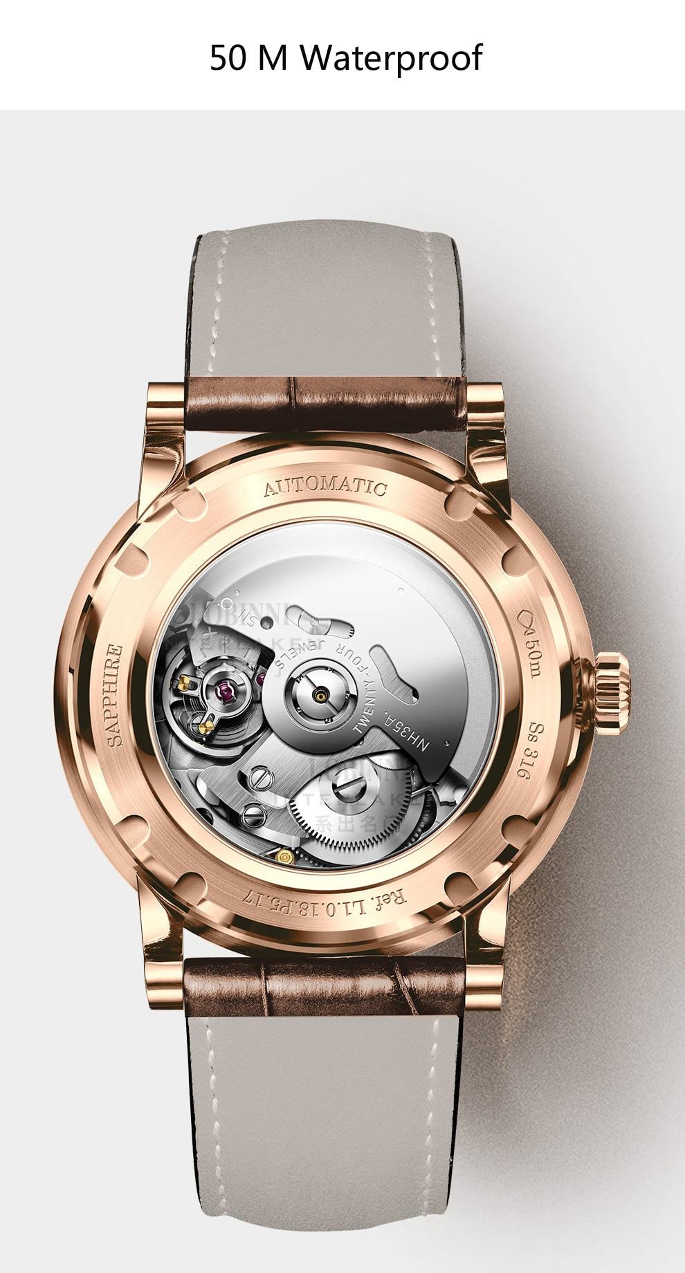 LOBINNI New Men Watches Top Luxury Brand Japan Import NH35A SII O Auto Mechanical MOVT Men's Clock Sapphire reloj hombre L1018-8 16