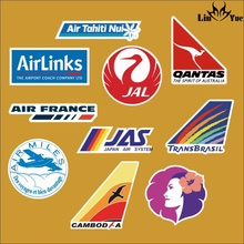 10pcs/lot airline decal Jal Japan air system Notebook refrigerator skateboard trolley case backpack PVC waterproof Car sticker