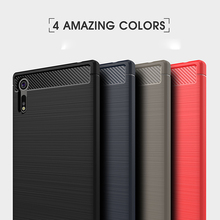 Slim Brushed Silicone Case For Sony Xperia XZS XZ Primium Carbon Fiber Case For Xperia XA1 Ultra Soft TPU Cases