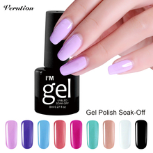 Verntion Newest lucky Young Girl Nude Color Soak Off UV Nail Gel Polish Salon Color Lacquer French Style Nail Glue Gel