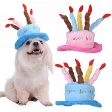 Dog Birthday Hat With Cake & Candles Design Pets Puppy Cap Cute Party Costume Accessories Headwear(China)