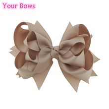 Your Bows 1PC 5 inches Kids Hair Bows 3 Layers Solid Vanilla Bows Hair Clips Boutique Ribbon Bows For Girls Hair Accessories(China)
