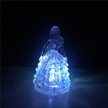 Acrylic Princess LED colorful transparent crystal night light romantic place wedding gift selection for kids Home furnishings