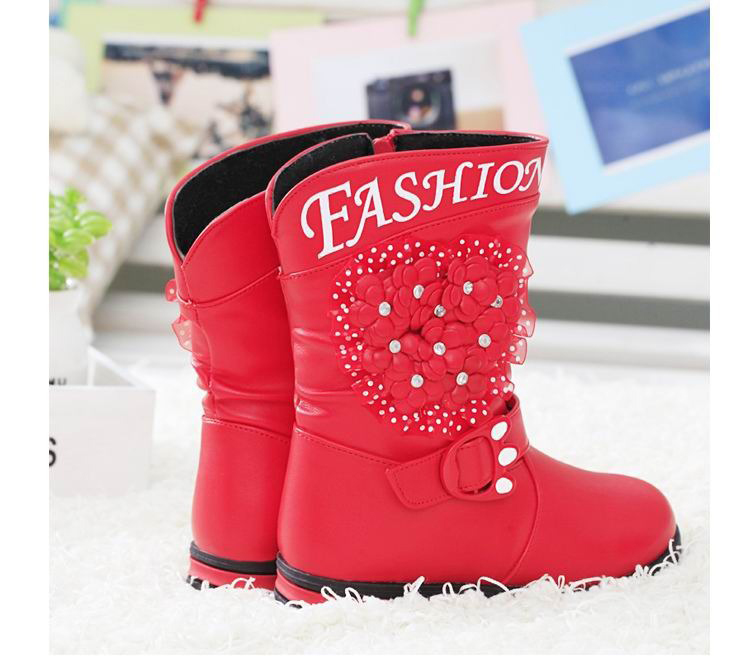 kids winter flower embellished children girl shoes boots size 30<br><br>Aliexpress