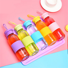 Travel Drinkware Portable Bottle Transparent Glass Bottle With Cover New Design Adiabatic Leakproof Solid Color Drinking Bottle