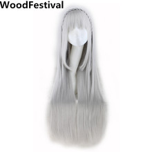 WoodFestival long straight hair grey 100 cm wig cosplay braid women synthetic wigs with bangs life in a different world