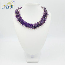 LiiJi Unique Natural Stone Amethysts&White freshwater pearl Jades Toggle Clasp Handmade Knitting  Necklace Approx 46cm/18inches