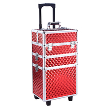 4 Colors Free shipping to European 4in1 Interchangeable Aluminum Rolling Makeup Case Cosmetic Train Trolley with Drawer