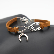 2016 Europe and America Popular Women's Valentine's Day LOVE Infinity Jewelry Cute Horseshoe Horse Hoof Charms Leather Bracelet