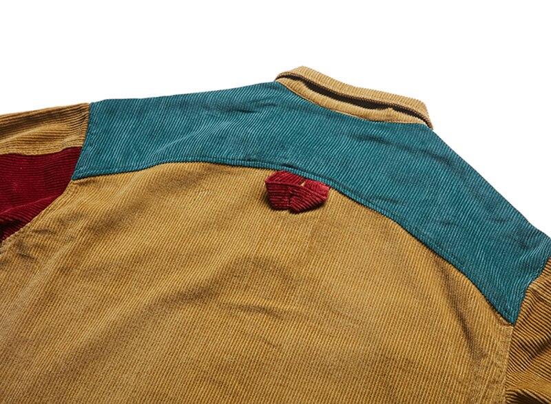Aolamegs Jacket Men Corduroy Patchwork Men\`s Jacket Pockets High Street Fashion Casual Outwear Men Coat 2018 Autumn Streetwear (8)