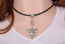 Tiger Necklace Pendant Glass Bead Charms Vintage Silver Choker Collar Leather Statement Hot For Women Jewelry DIY Gifts  A636