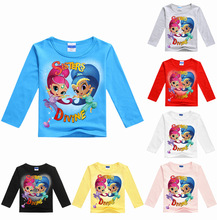 2017 princess Costume Girls Long Sleeve T-shirt Patchwork T Shirt Casual Thin Cotton Tees School Girls Tops For Baby(China)