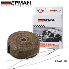 "TITANIUM TURBO MANIFOLD HEAT EXHAUST THERMAL WRAP TAPE & STAINLESS TIES 2""X10meter For VW GOLF GTI MK3 VR6 2.8 V6 94 EP-WR15TI(China)"