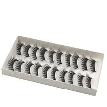 10 Pair Natural Long Thick Cross Party False Eyelashes Lashes Voluminous Black Band Fake Eye Lashes Handmade Dropshipping jl24