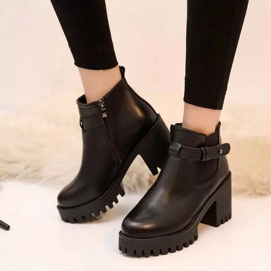 Chunky Heel Boots Women 2017 New Fashion Ladies Black Martin Boots With Platform Short Boots Side Zippered Free Shipping<br><br>Aliexpress
