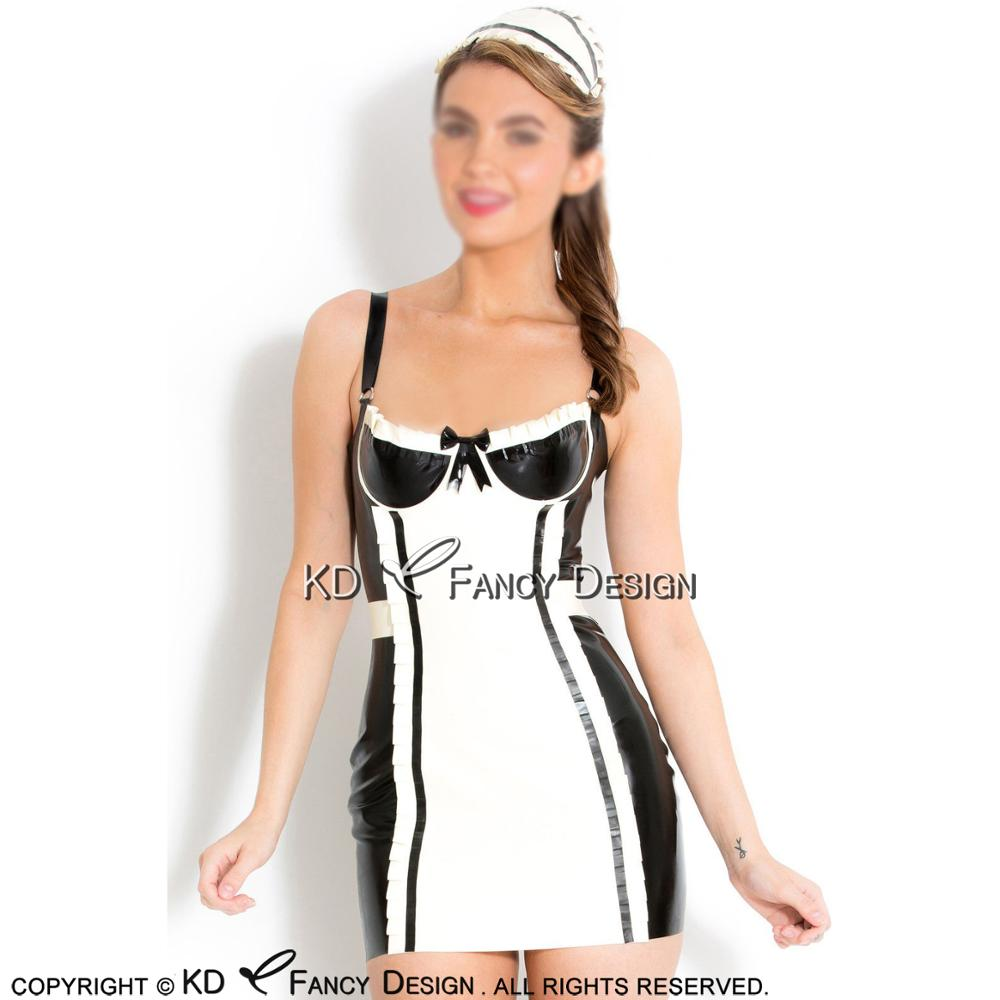 Black With White French Maid Sexy Mini Latex Dress Rubber Uniform With Bows Lacking and Zipper Gown Playsuit Bodycon LYQ-0105