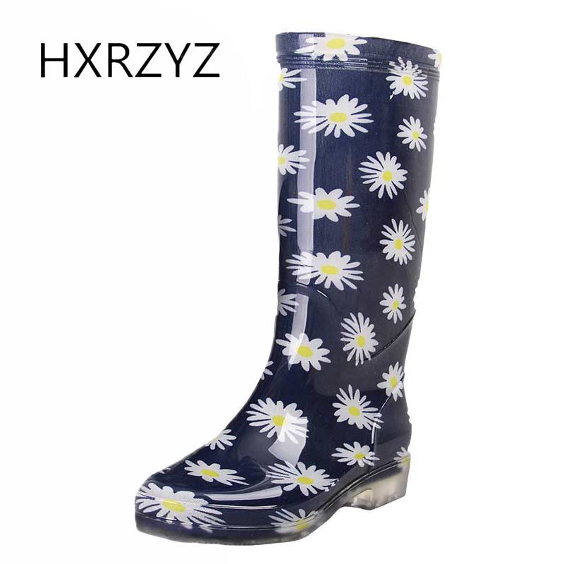 HXRZYZ female knee high rain boots women rubber boots spring/autumn new fashion printing waterproof slip-resistant women shoes<br>