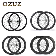OZUZ 700C 24mm 38mm 50mm 60mm 88mm Clincher Tubular 23mm Width 3K Carbon Wheels Road Bike Bicycle Wheel Racing Touring Wheelset(China)