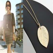KISS WIFE 2016 New For Women Cheap Fashion Jewelry Maxi Necklace Gold Color Chain Leaf Design Pendant Necklaces & Pendants(China)