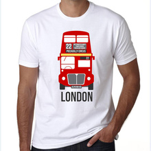 LEOMAN 2018 New arrival t-shirt Fashion Design T Shirt Men's High Quality white t-shirt male United Kingdom Bus Printed Tees(China)