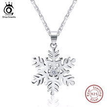 ORSA JEWELS 2017 Genuine Silver Snowflake Pendant Necklaces for Men/Women 925 Sterling Silver Necklace Jewelry Lover's Gift SN07(China)