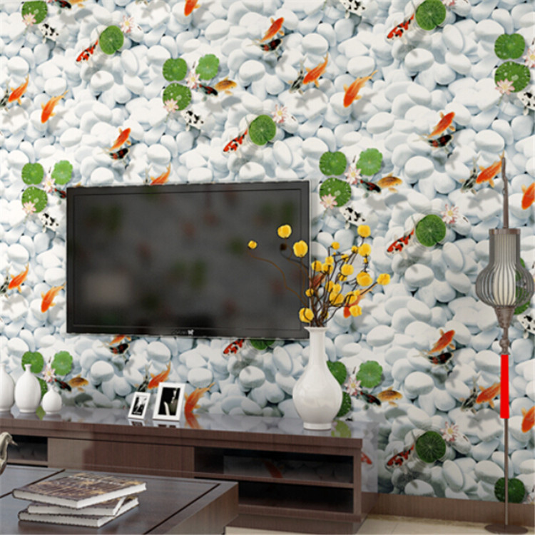 2016 New 3D Visual Wallpaper Creative Cobble stone Gold fish leaves Living Room Decor Wallpapers Elegant Fresh Wall Paper<br>