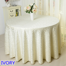 Ivory colour jacquard table cloth damask pattern table cover for wedding hotel and round table linen decoration wholesale