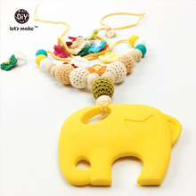 Let's Make Crocheted Beaded SLING NECKLACE BPA Free Silicone Elephant TEETHING Pendant in Yellow, Gold, Silicone Necklaces