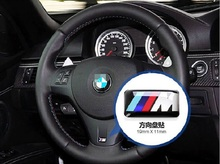 50 pcs/lot M Emblem car stickers steering wheel car styling high quality aluminum badge decorations auto accessories hot fashion