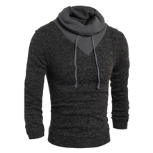 2017 new brand men's fashion hedging high collar solid color long sleeves hair casual turtleness sweater  2 color men