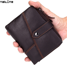 TAILUTE Brand Leather Men Wallets Top Quality Genuine Leather Walet Men Card Holder Mini Wallet Men with Zipper Coin Pocket