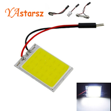 1pcs Parking 8W COB 24 Chip LED Car Interior Light T10 Festoon Dome Adapter 12V Panel light bulbs  Auto car light source