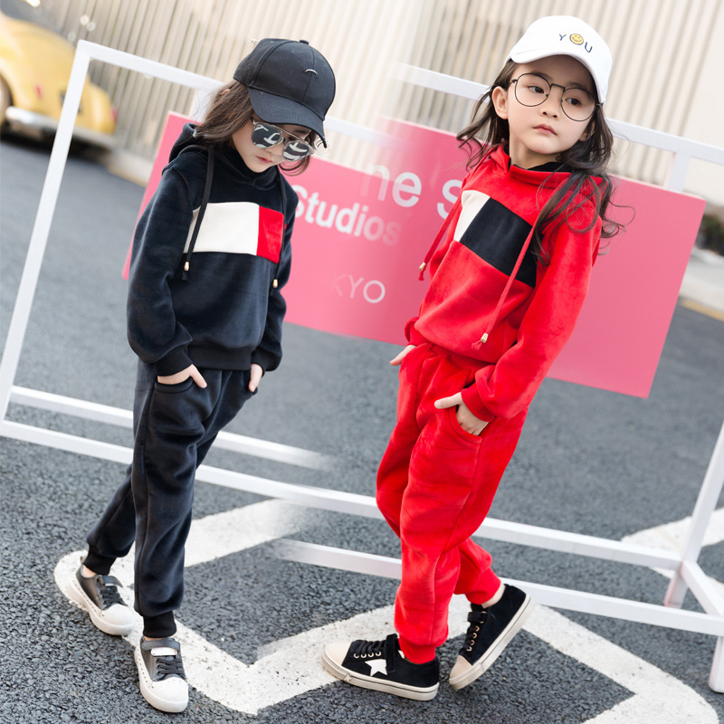 2017 childrens boutique outfits clothes sets kids girl princess Hooded sweater trouser costume suit pleuche 4 6 8 10 12 years<br>