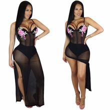 Floral Embroidery Sheer Maxi Dress Sexy Spaghetti Straps Backless Club Wear Long Dress Hot Ladies High Legs Split Mesh Dress(China)